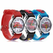 Cute Cartoon 3D Car Analog Quartz Child Wrist Watch Red Band Strap Gift~