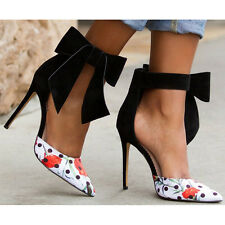 Womens Pointed Toe Suede Bowknot High Heel Floral Pumps OL Shoes Stilettos Size