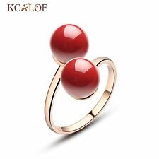Fashion Red Coral Ring Jewelry Double Ball Ring  Rose Gold Plated Adjustable Rin