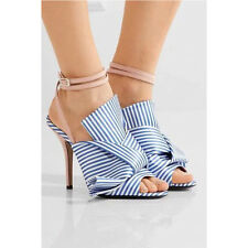 Womens Peep Toe Ankle Strappy Blue Striped Sandals Shoes Satin Stilettos Size