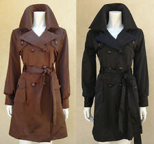 Women Long Sleeves Double Breasted Button Satin Brown Black Trench Coat Jacket