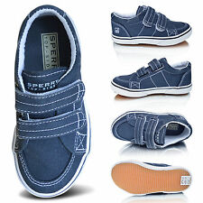Branded Kids Boys Plimsole Canvas Casual Pumps Velcro School Trainers Shoes Size