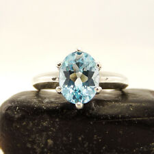 Blue Topaz Ring sterling silver size 3 4 5 6 7 8 9 10 11 12 13 oval 9x7 mm