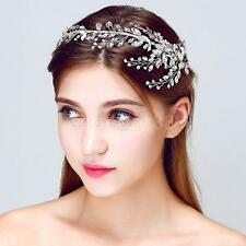 Bridal Girls Crystal Flower Leaves Party Headband Clips Hair Accessories
