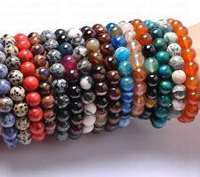 Wholesale 12MM Natural Gemstone Round Beads Stretchy Bracelets Assorted Stones