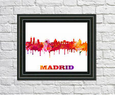 Madrid City Skyline Print City Silhouette Abstract Poster Art Madrid Outline