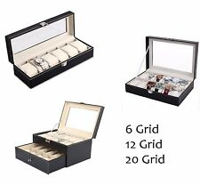 Faux Leather 6/12/20 Grid Watch Case Organiser Bracelet Showcase Storage Display