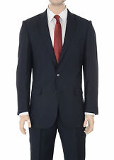 Mens Classic Fit Navy Blue Pinstriped Two Button Wool Blend Suit