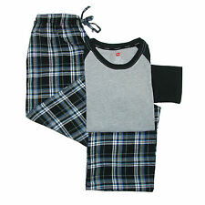 New Hanes Men's Cotton Long Sleeve Shirt and Flannel Pajama Pants