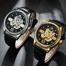 Black Leather Skeleton Wrist Automatic Watch Mechanical Roman Arabic Dial Mens