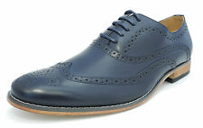 Mens Leather Lined Smart Lace Up Oxford Brogues Shoes NAVY BLUE 7 8 9 10 11 12