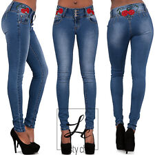 NEW WOMENS LADIES EMBROIDERED ROSE JEANS SEXY SKINNY FIT BLUE DENIM SIZE 6-14