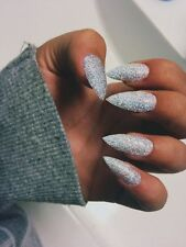 silver holographic glitter stiletto false nails hand painted small medium large