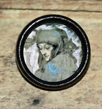 Halloween WITCH Black Cat familiar Altered Art Tie Tack or Ring or Brooch pin