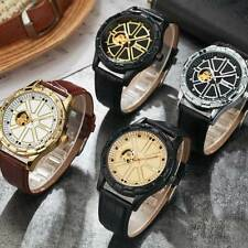New Mechanical Black Brown Leather Skeleton Wrist Automatic Watch Men Women Gift