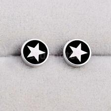 Round Barbell 361L Stainless Steel Earring Punk Gothic Ear Studs Multi Pattern