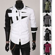 Luxury Mens Top Designer Long Sleeve Casual Dress Shirt Slim Fit Formal Shirts