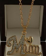 """Mothers Day Gold/Silver Plated Mum Necklace Pendant Crystals 17"""" Chain Jewelry"""