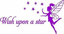 Fairy Wish Upon a Star vinyl nursery decor wall art sticker saying words decal