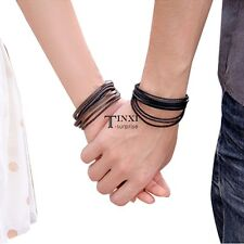 Wrap Multilayer Synthetic Leather Bracelet with Braided rope Fashion TXSU