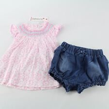 NWT BABALUNO Baby Girls 2 Pc Set Smocked Top Shorts Outfit 12-18-24 m England