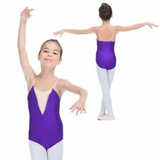 Girls Kids Gymnastics Ballet Dance Leotard Nude Insert Lycra Performance