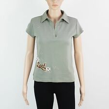 LOST Womens Size M L Green Polo Shirt Top