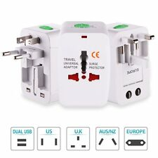 All In One Universal US/UK/EU/AU Power Plug Travel Adapter Wall Charger With USB