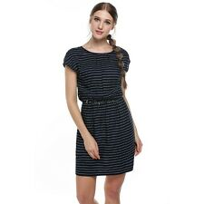 Meaneor Women Round Neck Elastic Waist Print Casual Fit Pocket Dress OO5502