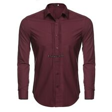 Men's Turn Down Collar Long Sleeve Solid Front Pleated Button Down Dress OO5502