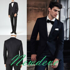 Black Groom Tuxedos Classic-Fit One Button Lapel Trim Groomsmen Formal Suits New