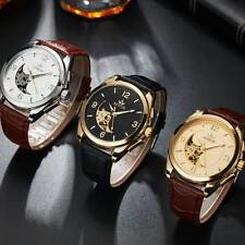 Automatic Watches Leather Mechanical Watch Skeleton Stainless Wristwatches Mens
