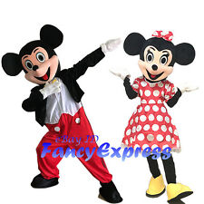 Minnie & Mickey Mouse Mascot Costume Carnival Fancy Dress Suit Adult Free Ship