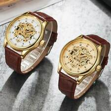 Brown Leather Skeleton Wrist Automatic Watch Mechanical Diamond Dial Gold Case