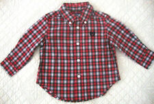 CHAPS NWT Toddler Boys Size Red Plaid Button Down Long Sleeve Shirt 3T 4T