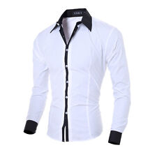 Men Long Sleeve Slim fit Solid Color Collar Shirt  White Casual/Formal Shirt