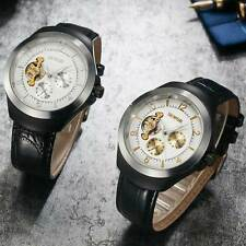 Mens Black Leather Automatic Wrist Skeleton Watch New Mechanical Tourbillon Dial