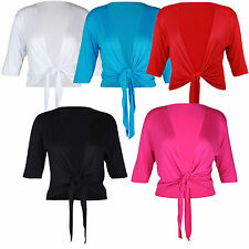 New Womens 3/4 Sleeve Plain Tie Shrug Ladies Crop Cardigan Bolero Top Plus Size