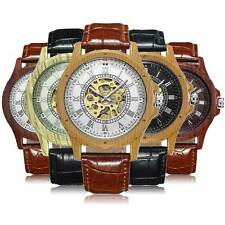Steampunk Wooden Brown Black Leather Wrist Automatic Watch Mechanical Roman Dial