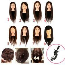 Human Hair Hairdressing Training Head Model Mannequin for Salon Practice + Clamp
