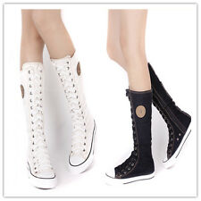 EMO SHOES Details about PUNK GOTH HOLE KNEE HIGH CANVAS SNEAKER BLACK BOOTS Zip