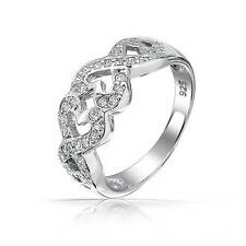 Bling Jewelry 925 Sterling Silver Pave CZ Kissing Infinity Hearts Band Ring