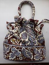 VERA BRADLEY SLATE BLOOMS DRAWSTRING HAND BAG PURSE EUC