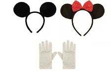 MINNIE MICKEY MOUSE EARS HEADBAND & WHITE GLOVES FANCY DRESS HEN NIGHT PARTY