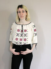 Vintage 70s Embroidered Hungarian Cheesecloth Short Sleeved Blouse Free Size