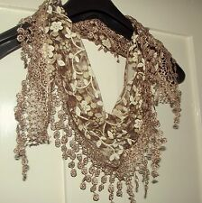 Vintage Style Floral Lace Triangle Scarf with Fringe: Accessories, scarves.