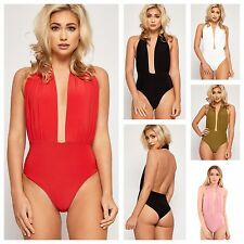 WOMENS LADIES HALTER NECK DEEP PLUNGE SLEEVELESS BODYSUIT LEOTARD BACKLESS TOP