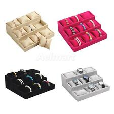 Luxury Hessian 9 Grids Watch Bracelet Pillow Jewelry Display Boxes Holder