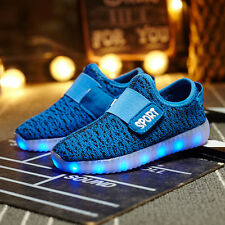 Kids Boys Girls USB Charging 7 Colors LED Light up Breathable Shoes Sneakers