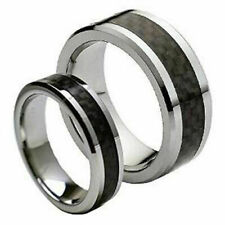 Men & Ladies 8MM/6MM Tungsten Carbide Black Carbon Wedding Band Ring set